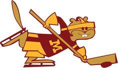 Minnesota Golden Gophers Hockey Logo | Minnesota Golden Gophers Mascot Logo (1986) - Hockey mascot logo