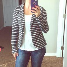 Xhiliration striped blazer Charcoal grey and white striped blazer.  Great condition, soft and lightweight, size small. Xhilaration Jackets & Coats Blazers