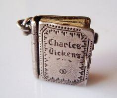Vintage Silver Charles Dickens Book Charm Opens and RARE