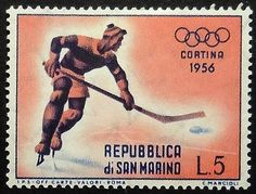Hockey   Cortina 1956 San Marino stamp