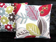 Love the colors! - MELENA - Red, Duck Egg Blue, Pistachio  cushion cover , pillow sham , throw pillow. $14.00, via Etsy.