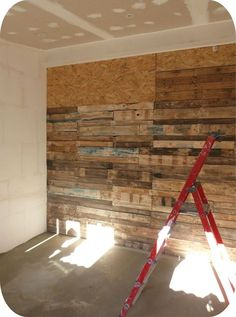 ◘ Mon mur en palettes ◘ Plus. Bev top this with corbels, or decorative crown moulding Pallet Projects Diy Garden, Palette Wall, Palette Projects, Small Space Interior Design, Wooden Walls, Wall Wood, Pallet Furniture, Pallet Walls, Wood Pallets