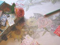 drawings by Mari Mochizuki, January 2015/スタジオから:季節の便り 2015年1月 花冠の素描とバラ、イタリア紙の構成。花冠は詩の隠喩。#望月麻里  mochizukimari.com
