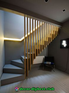 17 Best Light Stairs Ideas You Can Start Using Today Slatted oak stairs and balustrade, oak handrail, recessed LED light, grey Farrow and Ball interior.