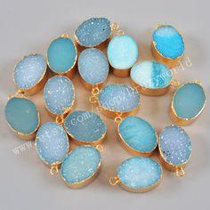 1 pcs of  Gold Plated Edge Oval Shape Titanium Geode Quartz Druzy Pendant Single Loop Natural Dyed Blue Agate Drusy Gemstone Pendant Bead by Druzyworld on Etsy