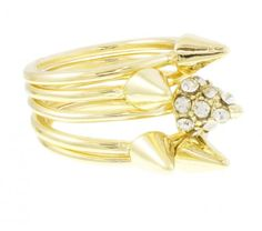 Gold Spike Ring Set