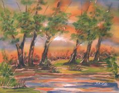 By the lake - watercolor on silk - 460x370. Free shipping worldwide. Price: $400.