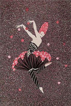Art Deco Illustration Rose Dance by Ert& Square Sticker - rose style gifts diy customize special roses flowers Illustration Rose, Art Illustrations, Fashion Illustrations, Fashion Drawings, Art Nouveau, Erte Art, Romain De Tirtoff, Art Deco Artists, Inspiration Art