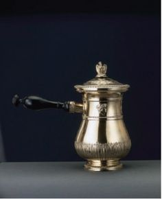 A chocolate pot fit for a king! This 18th century silver verseuse (pitcher) was owned by Napoleon and converted into a chocolatiere. The emblem on the front shows the Imperial Arms of Napoleon as King of Italy. #chocolatehistory   http://americanheritagechocolate.com/home/history