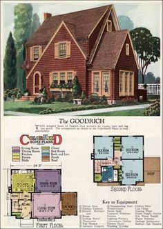 1927 American Builder - Goodrich by Radford    This English Cottage style home with three bedrooms and one bath has a fair amount of curb appeal because of its shake siding and Revival character. If you want storage though, it needs the basement as originally designed.