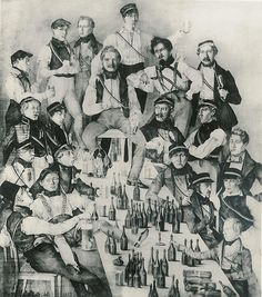 Members of a German Student Corps (Duchy of Brunswick) shown drinking in a picture from 1837.
