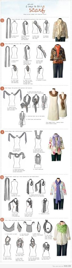 Repinning using the original source (I think).    I've always been totally stymied by scarves, even though I like the looks of them. At last: ways to wear a scarf for dummies (I hope!).