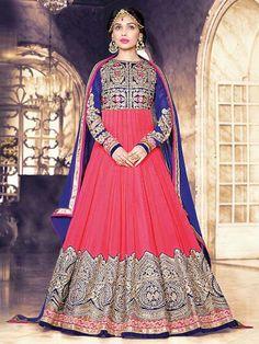 Pink Color Georgette Foil Embroidered Anarkali Salwar Kameez Suit Design #Anarkali #Pink