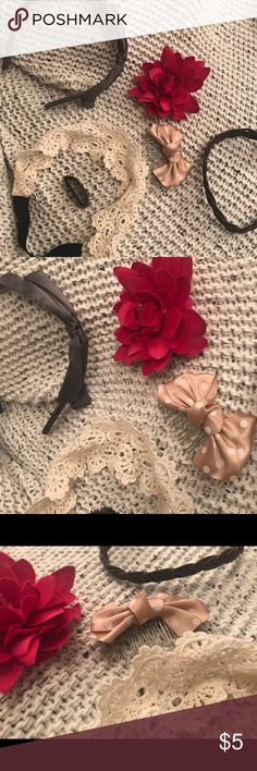 Hair accessories bundle Hair accessories bundle includes: -1 Gray hairband  -2 headbands (crocheted & brown woven) -1 pink flower w a clip and a pin  -1 small brown bump it (for lifting teased bangs) -1 bow Claire's Accessories Hair Accessories