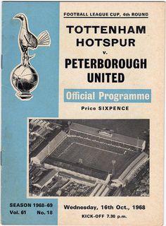 Vintage Football (soccer) Programme - Tottenham Hotspur v Peterborough United, FA Cup, 1968/69 season #football #soccer #spurs #tottenham