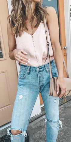 baby pink button down cami + high waisted distressed denim outfit + chloe faye crossbody bag   womens fashion and outfit ideas
