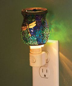 Mosaic Glass Dragonfly Nightlight Touch of Vintage Colored Glass Lighting
