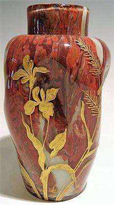 Vase 'Iris' - Verre Soufflé et Paillons d'Or - François Eugène Rousseau - Appert…