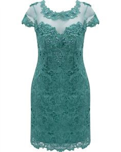 Vestido em Renda com Tule bordado e Pedrarias Seiki 980354 -Verde Mais Dress Skirt, Lace Dress, Plus Size Dresses, Short Sleeve Dresses, Kebaya Dress, Lace Outfit, African Dress, Special Occasion Dresses, Dress Patterns