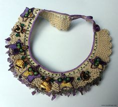 Needle Lace NecklaceCoral Stone Necklace Spring by NazoDesign, $70.00