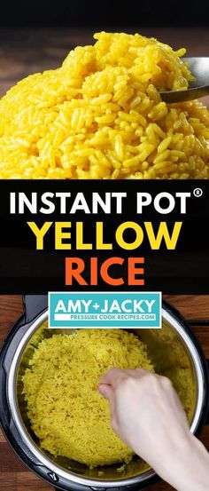 Instant Pot Yellow Rice | Tested by Amy + Jacky Instant Pot Pressure Cooker, Pressure Cooker Recipes, Pressure Cooking, Pressure Cooker Rice, Rice Cooker, Yellow Rice Recipes, Jasmine Rice Recipes, Rice Instant Pot Recipe, Instant Pot Dinner Recipes