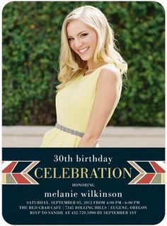 Jubilant Day - Adult Birthday Party Invitations - Sarah Hawkins Designs - Navy - Blue : Front