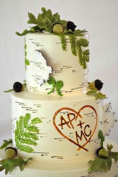 """birch tree wedding cake - perfect for an outdoorsy wedding! And I love the """"carved"""" initials Myers Myers Viestenz Birch Wedding Cakes, Birch Tree Wedding, Cake Wedding, Green Wedding, Diy Wedding, Woodsy Wedding, Wedding Ideas, Forest Wedding, Perfect Wedding"""