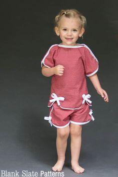 Sweet Pea Pajamas - Adorable Girls PDF Sewing Pattern for summer pjs blankslatepatterns.com