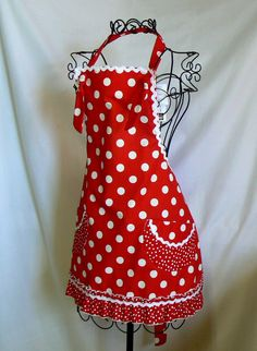 Womens Full Apron, Red and White, Polka Dots, Retro, Ruffles, Adult Small. $35.00, via Etsy.