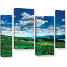 ArtWall Steve Ainsworth Vineyard and Lake 4-Piece Gallery-Wrapped Canvas Staggered Set, Size: 24 x 36, Green