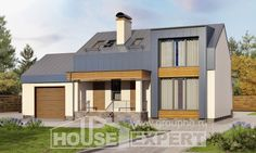 150-015-П Проект двухэтажного дома мансардой и гаражом, недорогой дом из газосиликатных блоков