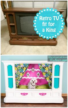 Retro Console TV Becomes Dog Bed! This is hilarious. I have no idea where you would put something like this but it is truly creative. Tv Dog Beds, Puppy Beds, Diy Dog Bed, Pet Beds, Dog Furniture, Dog Rooms, Bulldog, Animal Projects, Diy Stuffed Animals