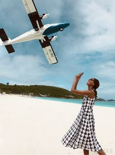 St. Barths tiny Gustaf III Airport is tucked in tight next to St. Jean beachgiving Smalls (and Demarchelier) a tailor-made photo op. Marni check-print dress, $2,160; select Neiman Marcus stores. In this story: hair, Jimmy Paul for Bumble and Bumble; makeup, Christian McCulloch. Produced by Float  Shoot, St. Barths. Details, see April\s In This Issue.