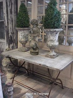 Boxwood in old French urns by roseann...