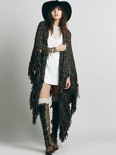 Free People Shaggy Wrap Ruana, $98.00Love the boots hat and dress that wrap can go!