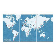 <strong>Pin World</strong> è una mappa da parete realizzata in <strong>feltro</strong>. Riproduzione fedele dell'emisfero terreste, può essere usata come <strong>mappa</strong> per segnare i luoghi visitati o come <strong>morbida bacheca</strong> dove affiggere foto, biglietti, note o piccoli gadget. Dotata di <strong>15 puntine</strong> colorate pronte per essere collocate su questo o quell'angolo di mondo, è composta da <strong>3 pannelli diversi</strong> che si possono combinare e…