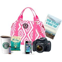 **Road Trip Essentials!!** Get ready for your next Road Trip with the Marleylilly.com Monogrammed Weekender Bag. by marleylilly on Polyvore featuring Eos