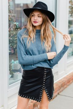 waffle thermal top and studded leather skirt