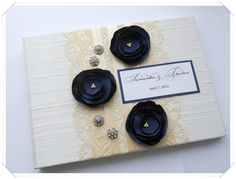 ivory cream and navy wedding guest book