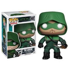 Pew! Pew! That's the Arrow Pop! Vinyl Figure taking aim at you with his tiny bow and arrow.    The vigilante hero of Starling City is captured with Funko's iconic Pop! design, with the masked arrow-slinger ready to take on any and all bad guys. He's sort of like Batman, except it.