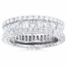Diamond 18k White Gold Eternity Wedding Band Ring