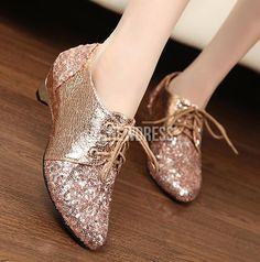 New Fashion Women Ladies Sequins Classic Shoes Pointy Toe Flats Light Coffee/Black