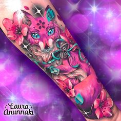 🍂🌸Sakura Kitsunes are graceful and peaceful creatures, they tend to change their appearance with the season. The natives believe these… Girly Tattoos, Dream Tattoos, Badass Tattoos, Love Tattoos, Beautiful Tattoos, Picture Tattoos, Body Art Tattoos, Hand Tattoos, Gem Tattoo