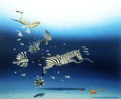 CODE BARRE stars and stripes - Bar Code Stars and stripes - oil on canvas by Pascal Lecocq The Painter of Blue  18 1/8x22 5/8 46x55cm 1997 lec486 priv.coll. Balboa CA.  http://ift.tt/1f2ZGp4. Published in BLOKBOEK TEKENEN 7 (Netherlands 2000) Uzzi Catalogue (USA 2000)  pascal lecocq #zebra #lionfish #art #blue #painterofblue #painting #painter #artist #contemporaryartcurator #artstack #artisticallysocial #in #pint