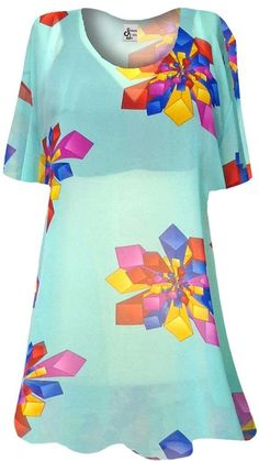c702ba83eb Mint Green with Geo Shapes Sheer Print Plus Size Coverup Tops   Swimsuit  Coverups Plus Size   Supersize