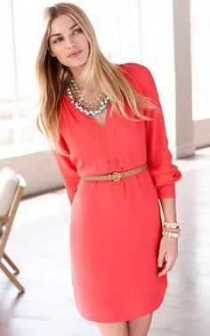 I really LOVE this dress with the belt! Pretty color and I like the sleeves.Seems to flow well! Super cute!