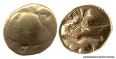 A gold Gallo-Belgic quarter stater of the C-type, dated between 80-60 BC