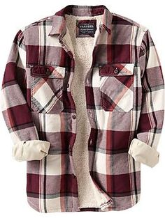 Men's Flannel Sherpa-Lined Shirt Jackets | Old Navy $39.94 Blue or Red plaid