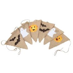 • This string of rustic Halloween bunting features bats, ghosts and pumpkins, all hand cut and carefully stitched to the hessian flags.  • Two