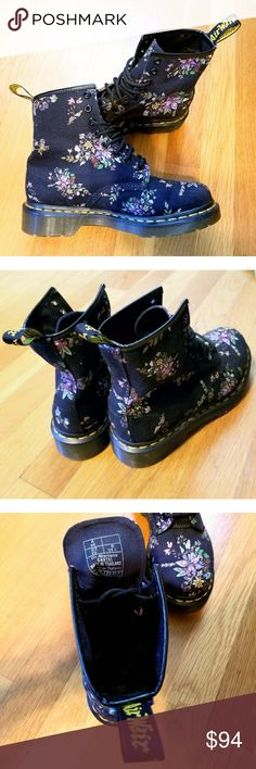 Dr. Marten Floral Castel Boots These boots were worn once and are practically new!  Classic 8-eye Doc Marten style. Black canvas with floral print. Some people find Docs to run a little large, so please know your size in this brand/read customer reviews to get an idea. This pair is size US 6/UK 4/EU 37. As always with Dr. Marten, quality is exceptional and these boots will last you for years to come!   I do not trade or model, sorry. Dr. Martens Shoes Lace Up Boots